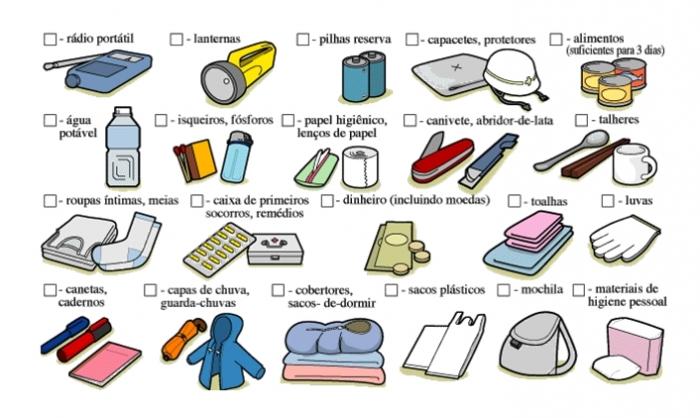 Itens de um kit básico de sobrevivência