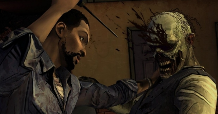 The Walking Dead Lee matando um zumbi